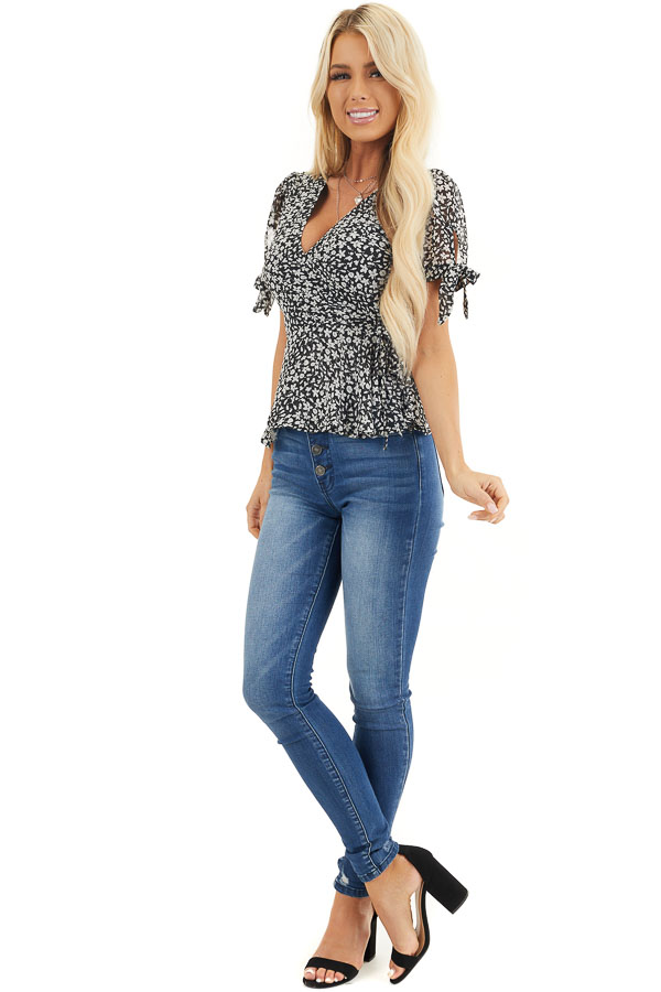 Black and Off White Floral Print Wrap Blouse with V Neckline front full body
