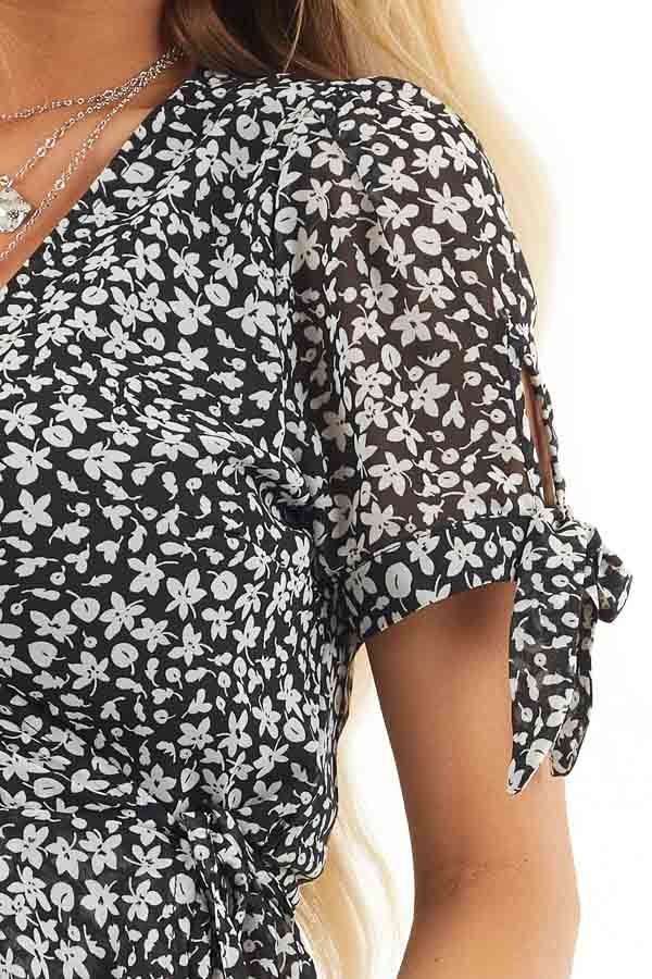 Black and Off White Floral Print Wrap Blouse with V Neckline detail