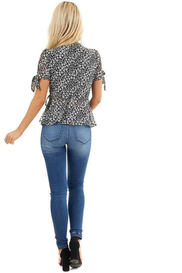 Black and Off White Floral Print Wrap Blouse with V Neckline back full body