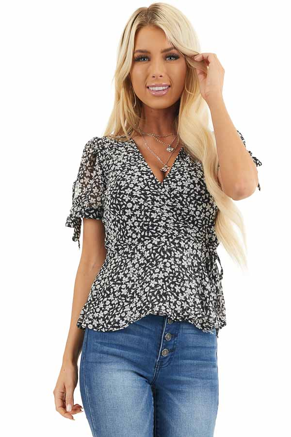 Black and Off White Floral Print Wrap Blouse with V Neckline front close up