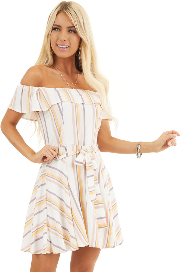 Ivory and Blush Stripe Print Off the Shoulder Mini Dress front close up