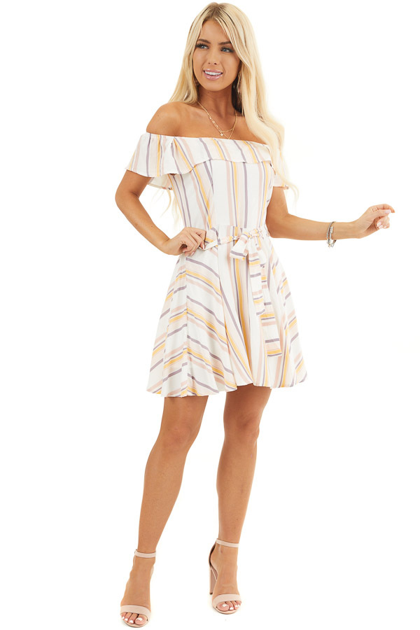 Ivory and Blush Stripe Print Off the Shoulder Mini Dress front full body