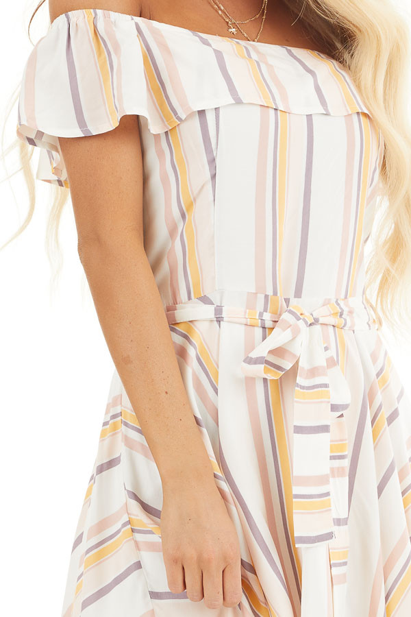 Ivory and Blush Stripe Print Off the Shoulder Mini Dress detail