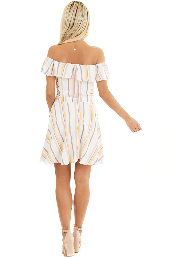 Ivory and Blush Stripe Print Off the Shoulder Mini Dress back full body