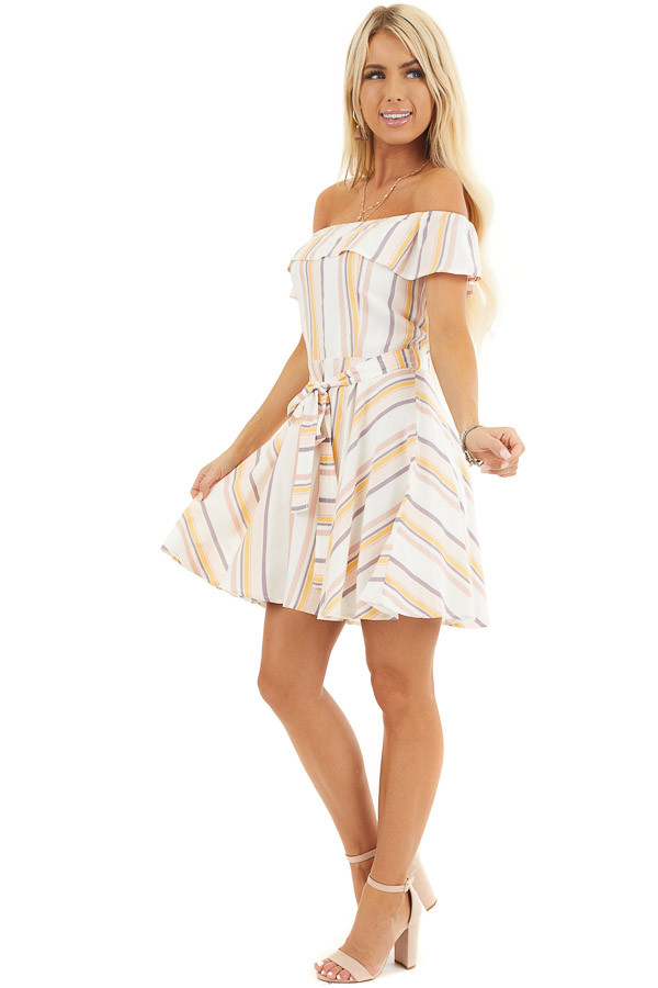 Ivory and Blush Stripe Print Off the Shoulder Mini Dress side full body