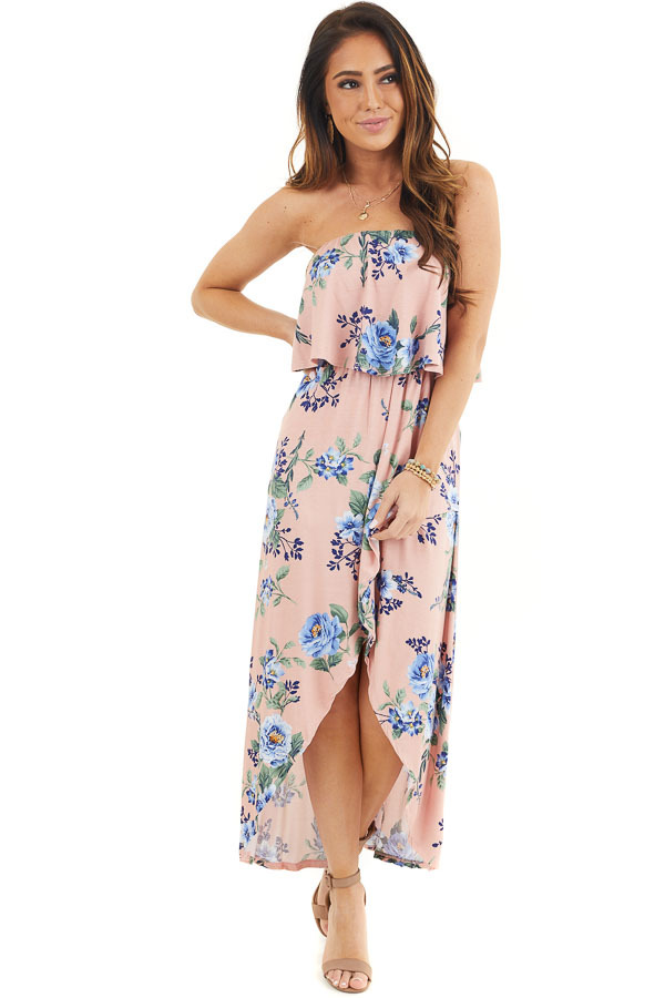 Blush Floral Print Strapless Maxi Dress with Ruffle Overlay front full body