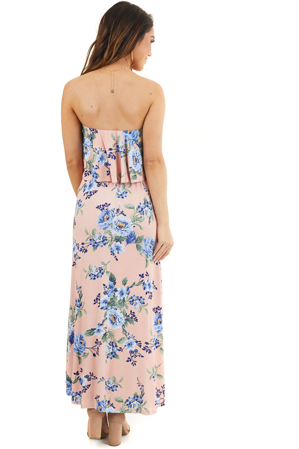 Blush Floral Print Strapless Maxi Dress with Ruffle Overlay back full body