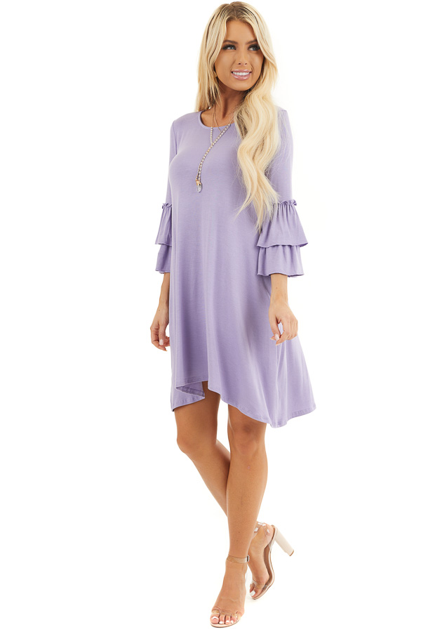 Lilac Short Knit Dress with 3/4 Dual Ruffle Trumpet Sleeves front full body