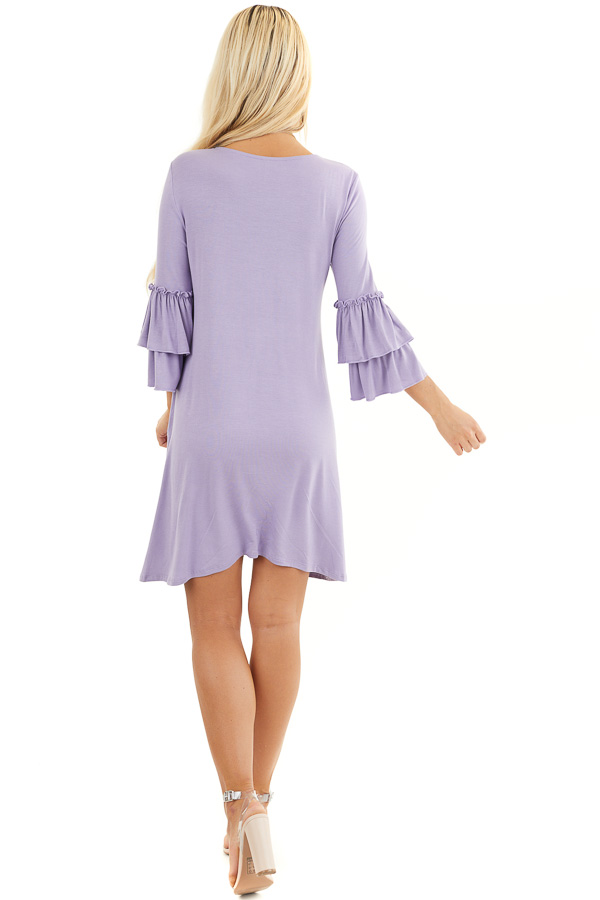 Lilac Short Knit Dress with 3/4 Dual Ruffle Trumpet Sleeves back full body