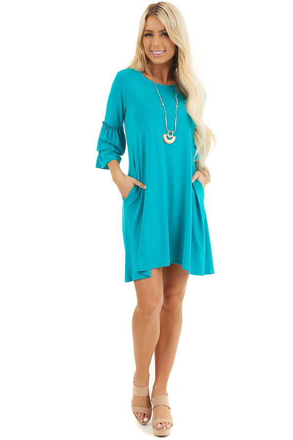 Bright Teal Knit Dress with 3/4 Dual Ruffle Trumpet Sleeves front full body