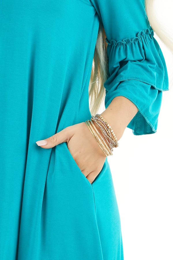 Bright Teal Knit Dress with 3/4 Dual Ruffle Trumpet Sleeves detail