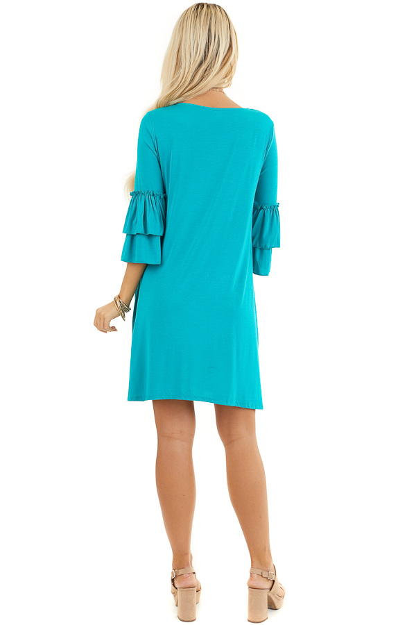 Bright Teal Knit Dress with 3/4 Dual Ruffle Trumpet Sleeves back full body