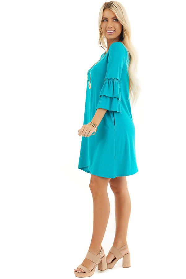 Bright Teal Knit Dress with 3/4 Dual Ruffle Trumpet Sleeves side full body