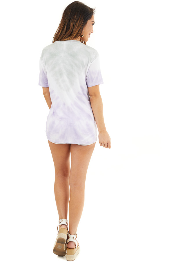 Faded Lavender and Sage Tie Dye Short Sleeve Knit Top back full body