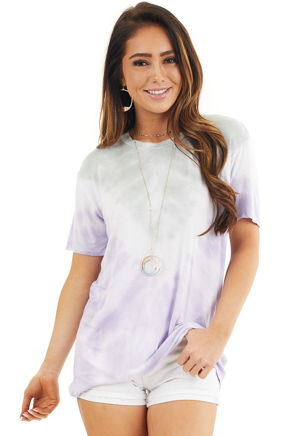 Faded Lavender and Sage Tie Dye Short Sleeve Knit Top front close up