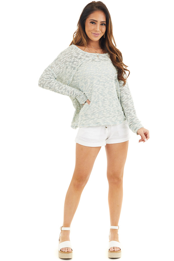 Teal and Ivory Two Tone Loose Knit Sweater Top front full body