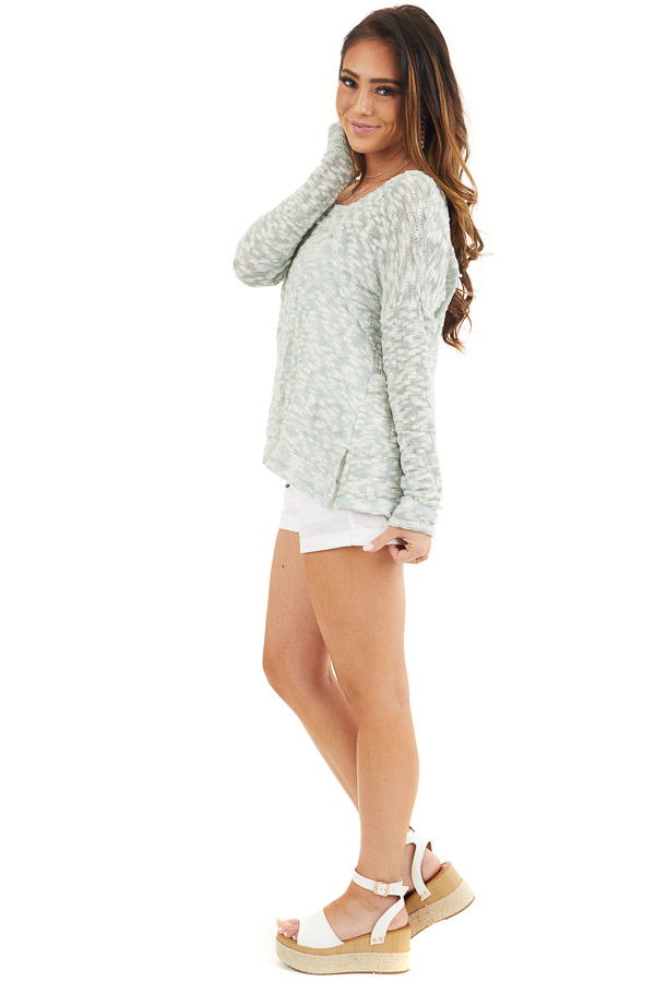 Teal and Ivory Two Tone Loose Knit Sweater Top side full body