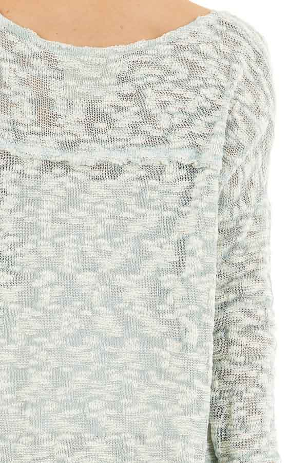 Teal and Ivory Two Tone Loose Knit Sweater Top detail