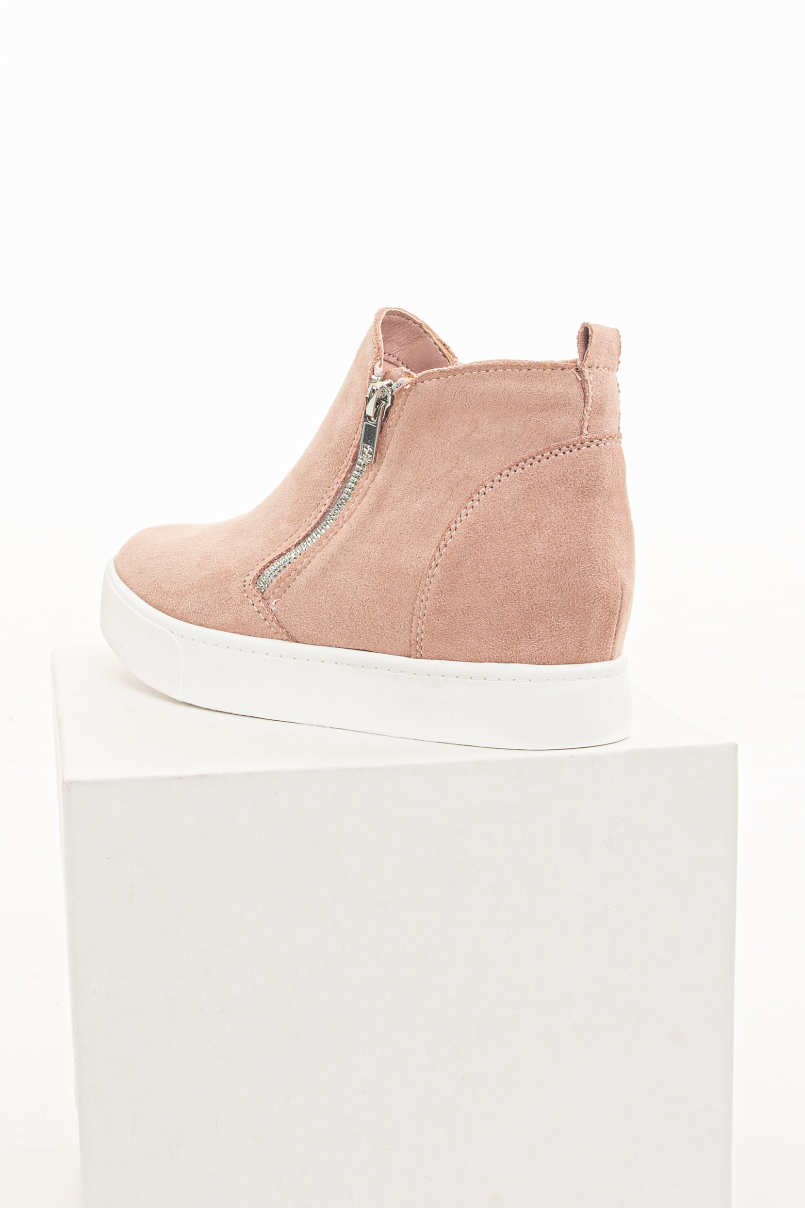 Dusty Blush Faux Suede Sneaker with Hidden Wedge