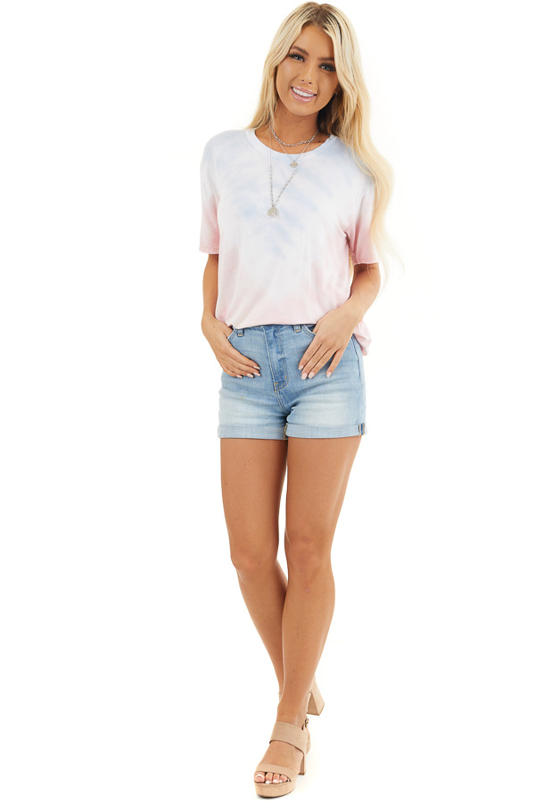 Baby Pink and Sky Blue Tie Dye Short Sleeve Knit Top front full body