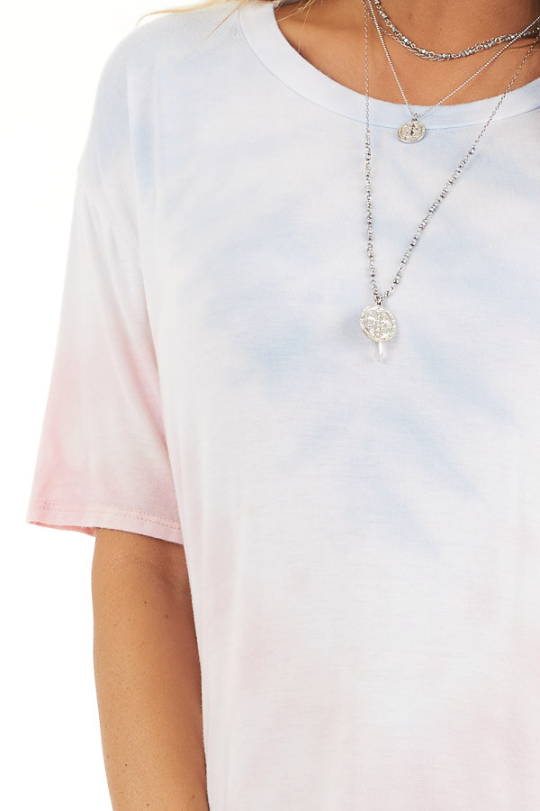Baby Pink and Sky Blue Tie Dye Short Sleeve Knit Top detail