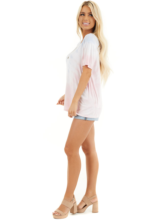 Baby Pink and Sky Blue Tie Dye Short Sleeve Knit Top side full body