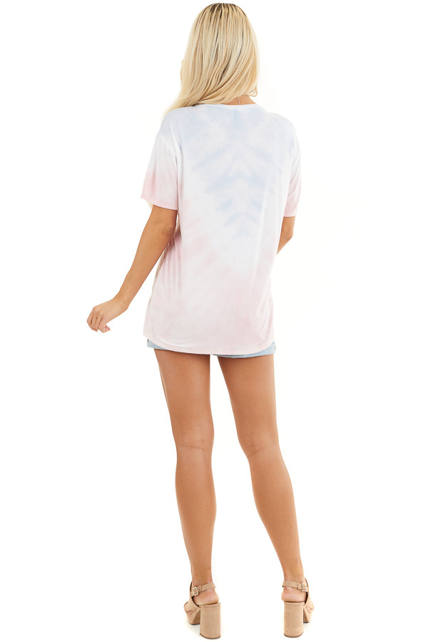 Baby Pink and Sky Blue Tie Dye Short Sleeve Knit Top back full body