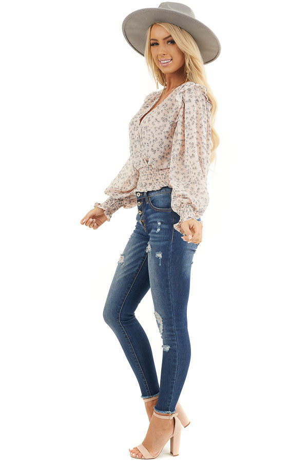 Pale Pink Floral Woven Surplice Top with Smocked Details side full body