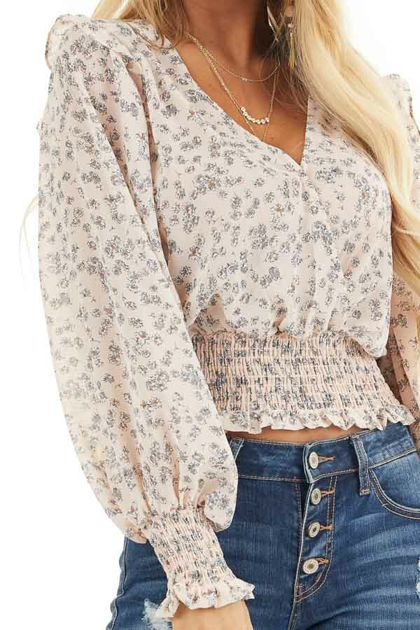 Pale Pink Floral Woven Surplice Top with Smocked Details detail