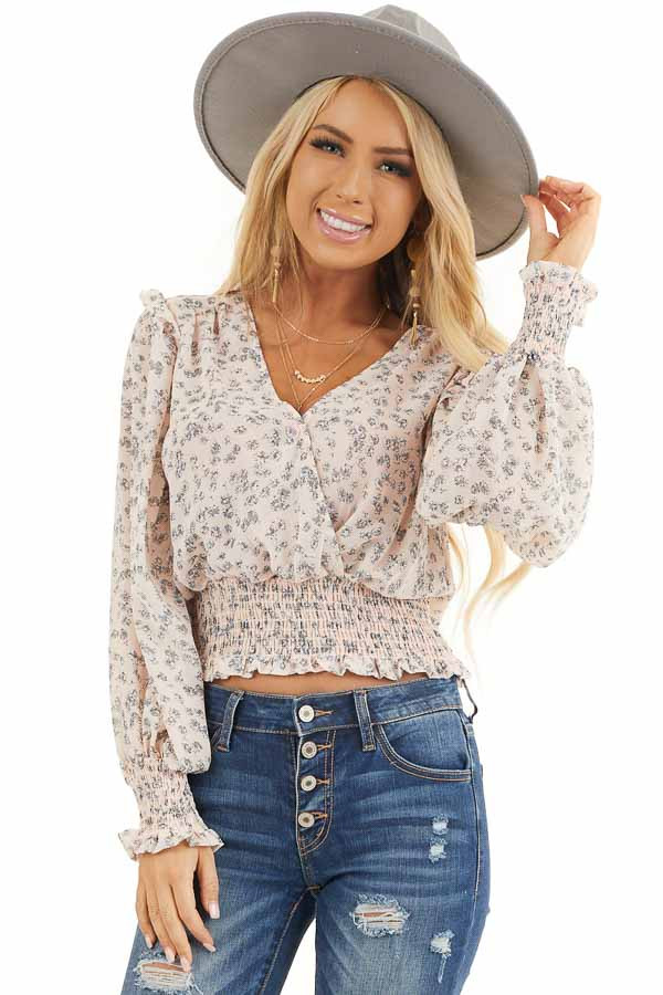 Pale Pink Floral Woven Surplice Top with Smocked Details front close up