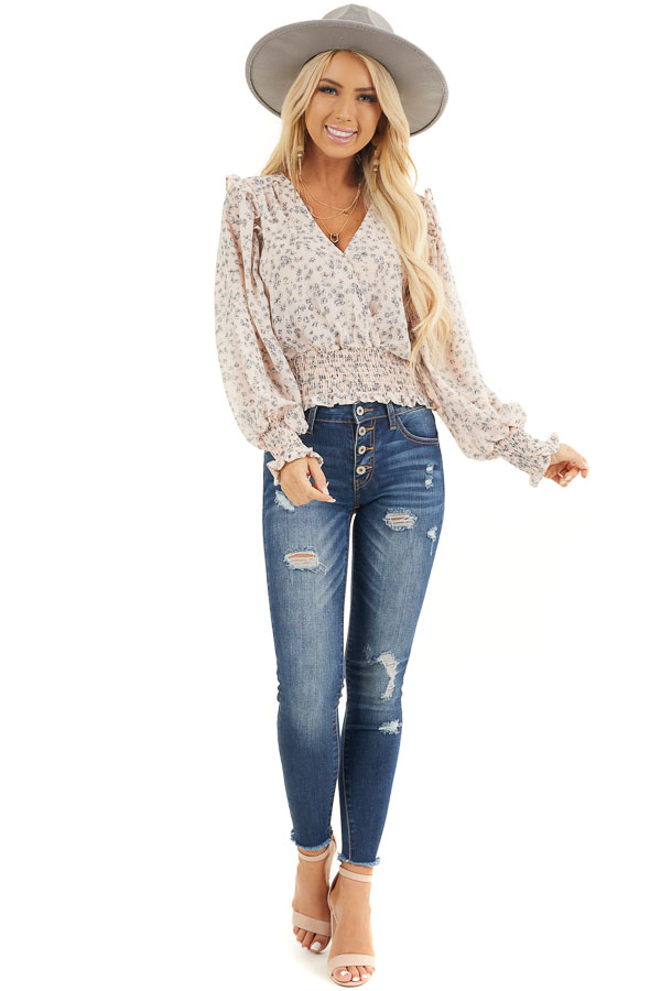 Pale Pink Floral Woven Surplice Top with Smocked Details front full body