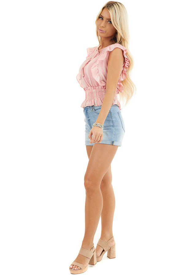 Baby Pink Striped Sleeveless Woven Top with Ruffle Shoulders side full body
