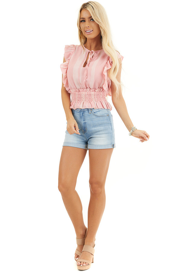 Baby Pink Striped Sleeveless Woven Top with Ruffle Shoulders front full body