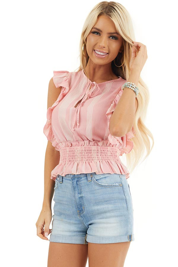 Baby Pink Striped Sleeveless Woven Top with Ruffle Shoulders front close up