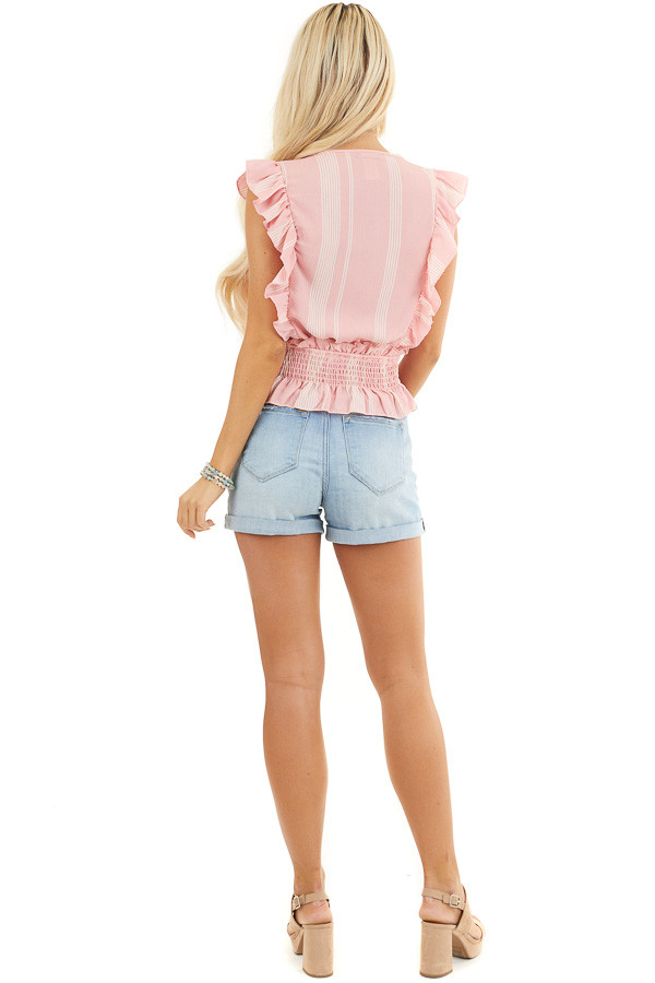 Baby Pink Striped Sleeveless Woven Top with Ruffle Shoulders back full body