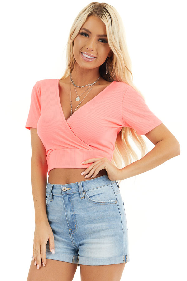 Hot Pink Surplice Cropped Knit Top with Short Sleeves front close up