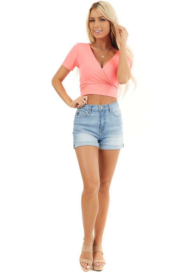 Hot Pink Surplice Cropped Knit Top with Short Sleeves front full body