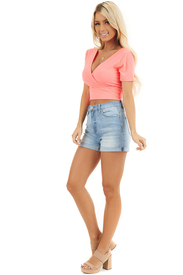 Hot Pink Surplice Cropped Knit Top with Short Sleeves side full body