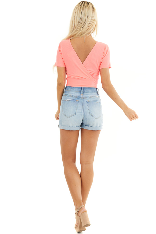 Hot Pink Surplice Cropped Knit Top with Short Sleeves back full body