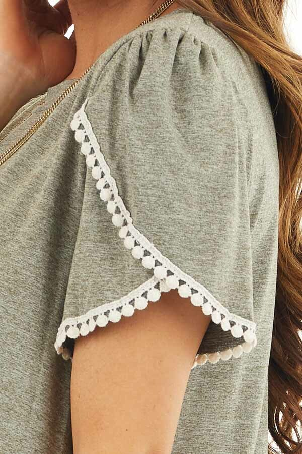 Heathered Olive Knit Top with Cream Crochet Lace Details detail