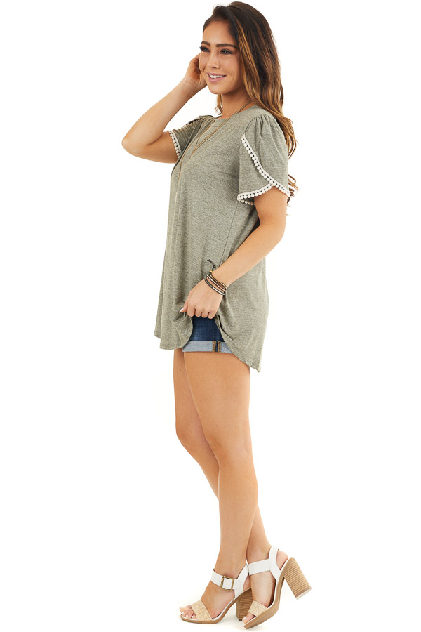Heathered Olive Knit Top with Cream Crochet Lace Details side full body