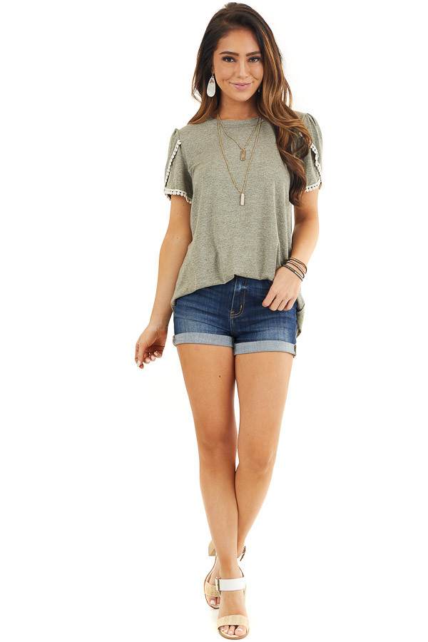Heathered Olive Knit Top with Cream Crochet Lace Details front full body