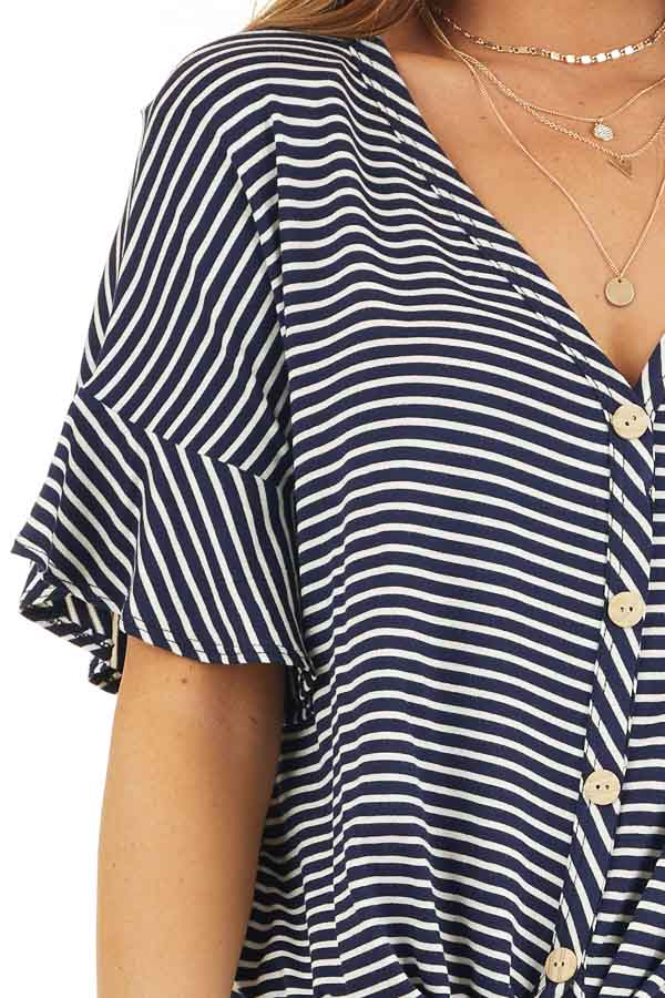 Navy and Ivory Striped Top with Button Up Detail and Tie detail