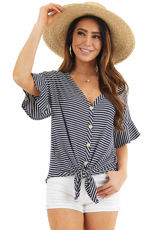 Navy and Ivory Striped Top with Button Up Detail and Tie front close up