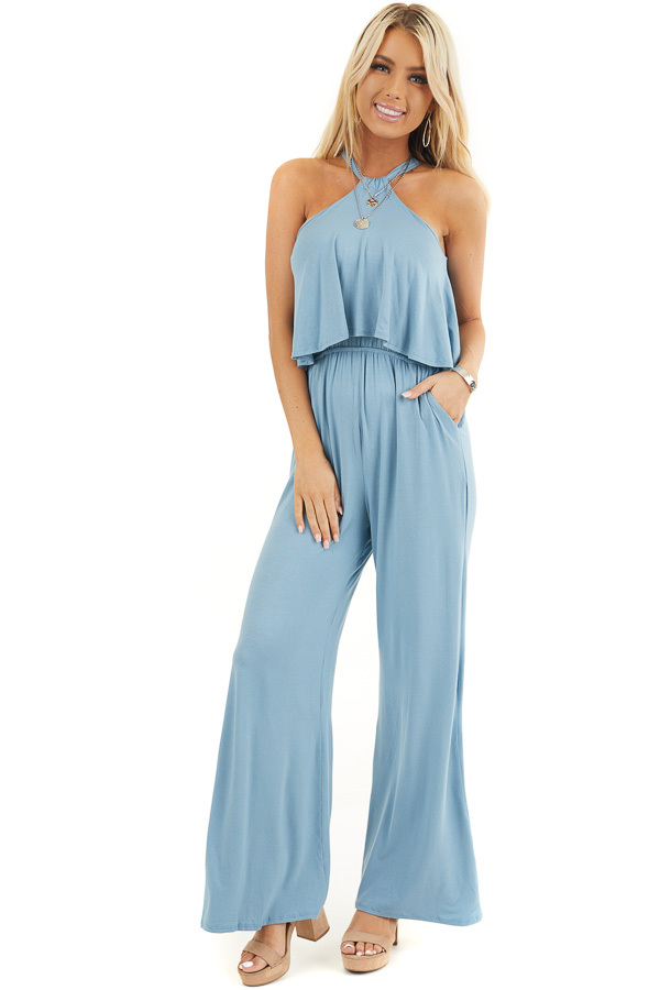 Dusty Blue Halter Jumpsuit with Overlay Detail front full body