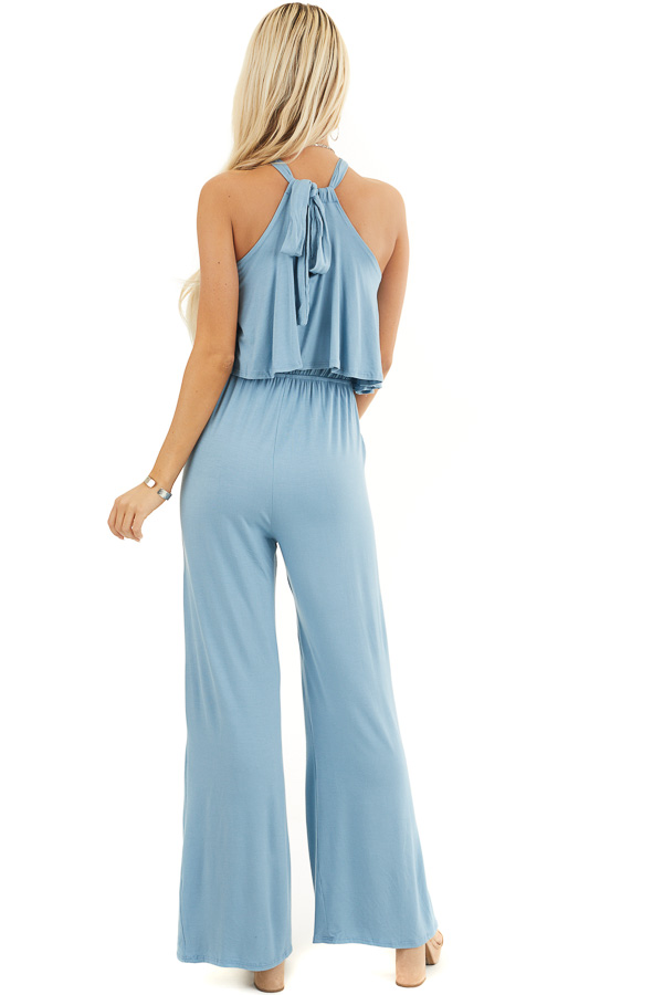Dusty Blue Halter Jumpsuit with Overlay Detail back full body