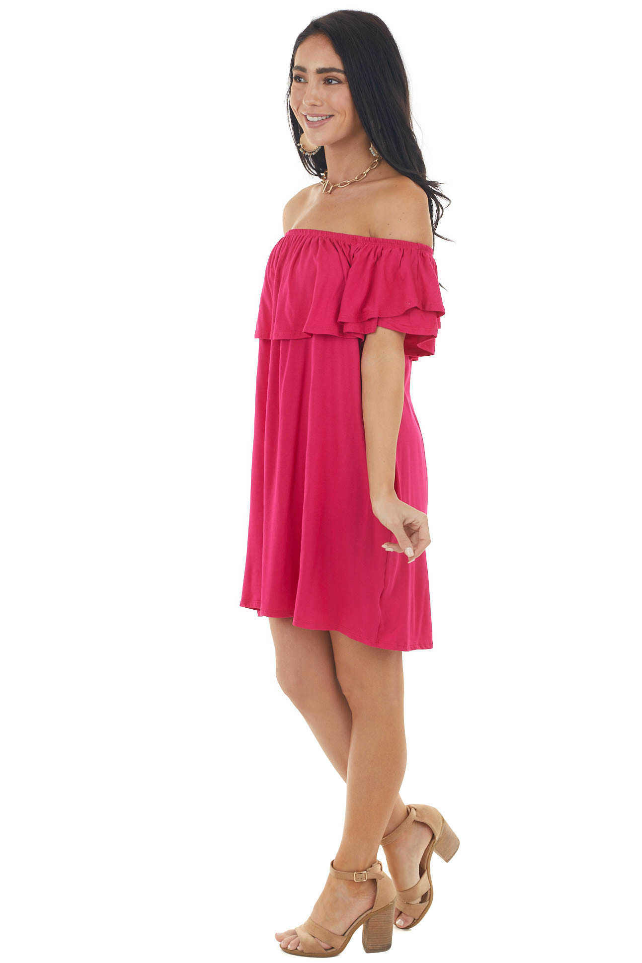 Dark Pink Off the Shoulder Mini Dress with Ruffle Overlay