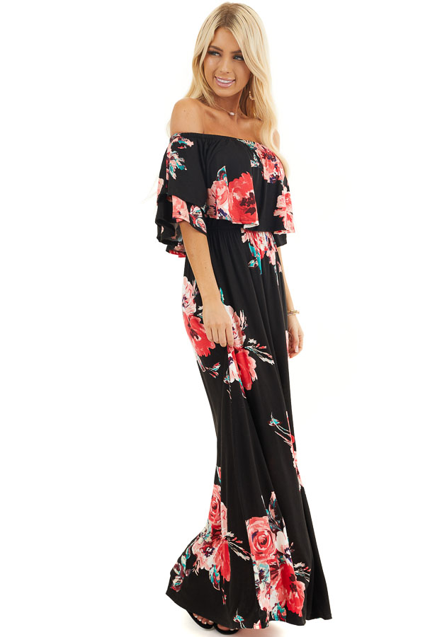 Black and Dark Pink Floral Layered Off Shoulder Maxi Dress front full body