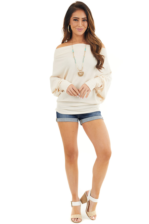 Cream Off the Shoulder Waffle Knit Top with Dolman Sleeves front full body