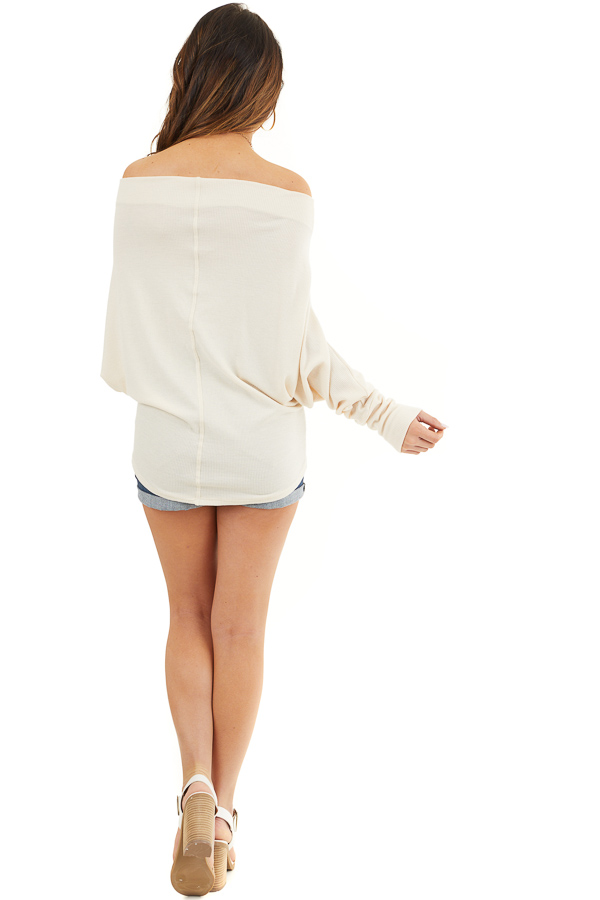 Cream Off the Shoulder Waffle Knit Top with Dolman Sleeves back full body